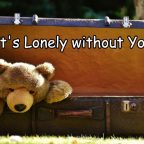Teddy Bear Meme. Sad teddy bear peeking out of a steamer trunk. Caption: It's lonely without you.
