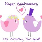 Love Meme. Two cartoon lovebirds wearing bridal veil and top hat. Caption: Happy Anniversary, My Darling Husband.