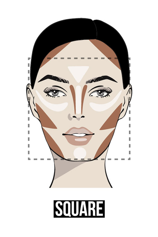 Face contouring details for a square-shaped face