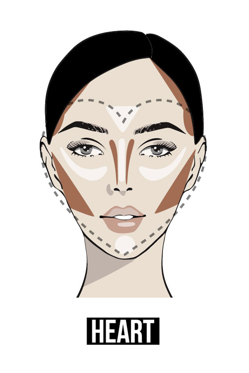Face contouring details for a heart-shaped face