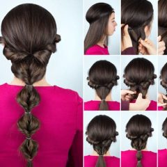 Collage of Instructions for Making Cute Ponytail Style