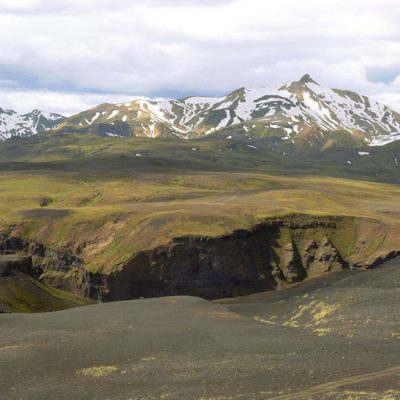Scenic view of Laugavegur Trail in Iceland