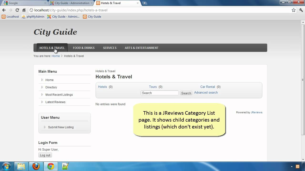 Building a City Guide website with JReviews - Part 8: Creating JReviews Menu Items